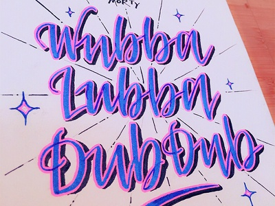 Rick And Morty starburst shadow brushpen brush pink blue drawing script lettering calligraphy typography type