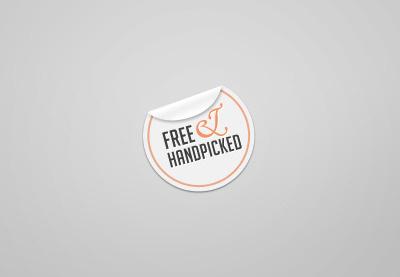 Sticker sticker free label highlight handpicked ampersand gradient shadow orange round circle web tag sans-serif