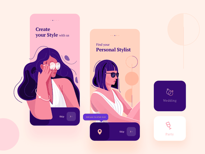 Onboarding Illustration onboard red purple modern pastel style fashion girl typography illustration inspiration product design concept ux ui mobile app app design ios uiux