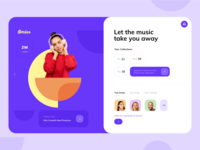 Omius Music Streaming App dashboard sgreaming colorful vibrant modern music song image purple blue typography product design product app design ios uiux