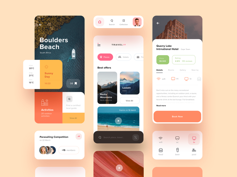 Traveliy UI Kit restaurent cards search profile dashboard images travel fresh orange ui kit kit colorful typography inspiration concept ux product design mobile app app design uiux