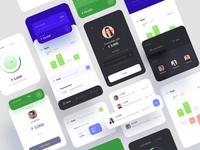 Banking App Design visual graph forms card profile ios dashboard green blue transfer money modern theme dark design kit ui app banking bank