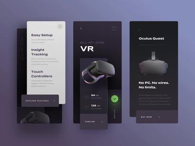 Oculus mobile app concept gaming ios visual presentation style luxury image pattern headset vr black modern clean kit design ui mode theme light dark