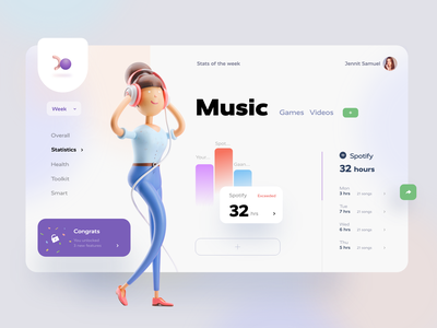 Usage management app minimal moden graph statistics design dashboard song girl purple blue trendy web mobile management 3d app music ui design ux ui