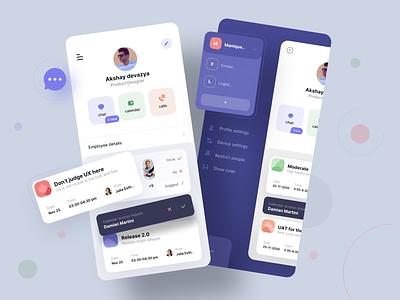 Time management & scheduler app mobile icons typography cards profile chat message calendar modern purple blues management manager task schedule time ux app design app ui