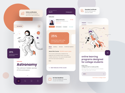 e-learning app typography ux kit clean app mobile ui login student teaching profile astronomy astronaut minimal modern colorful purple orange online learning