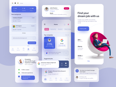 Job searching app inspiration minimal google modern blue dashboard profile ux ui clean white find search job