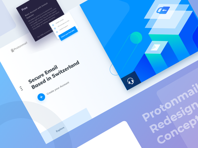 Protonmail redesign concept concept redesign hero image technology website illustration uiux ux ui