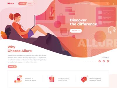 Allure website design online shopping visual design hero image banner inspiration ux ui illustration website