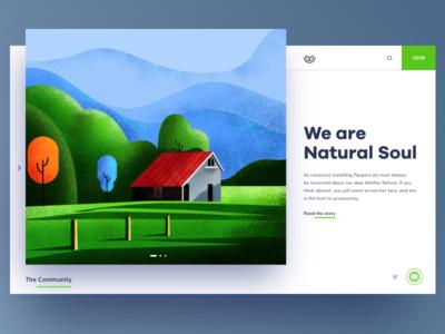 Natural Soul Website ui  ux design website builder texture hero image web scenery greenery natural nature website uiux illustration