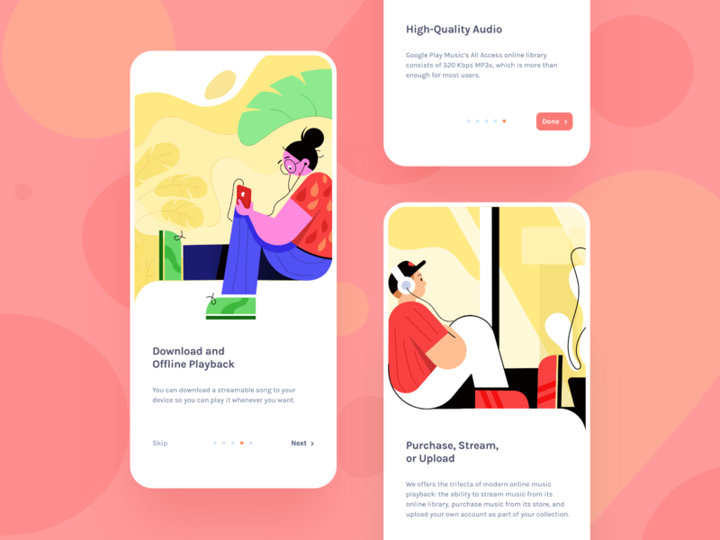 Music Player Onboarding Screens colorful layout typography yellow orange red mood song music character colors modern product design mobile app inspiration illustration concept app design ios uiux