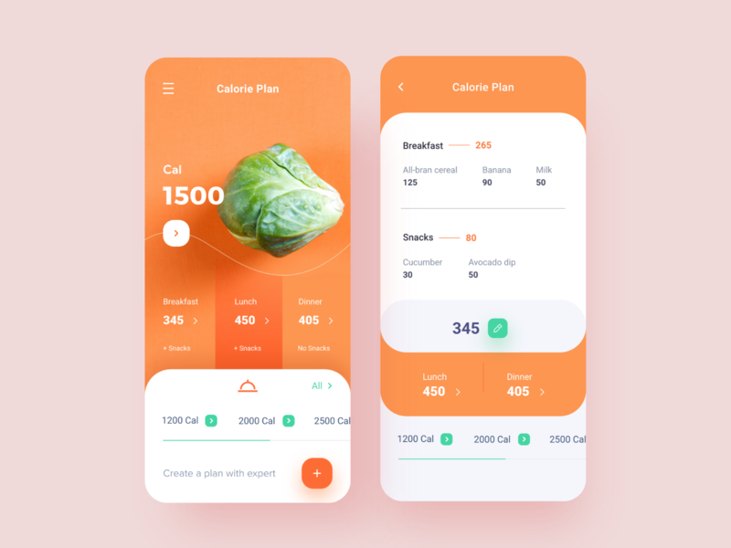 Calorie Plan Mobile App android screens inspiration green yellow red orange calorie vegetable design typography product design mobile app concept ui app design ux ios uiux