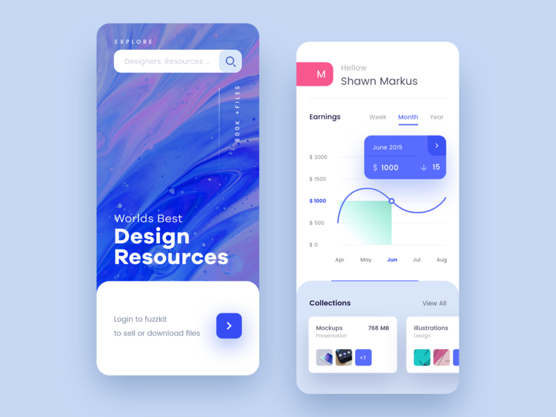Design Resource Mobile app popup cart sell cards blue and white blue graph mobile dashboard typography product design mobile app ui interaction app design ux ios uiux