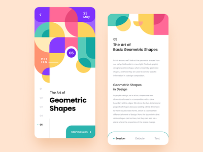 Learning App Concept learning product app mobile screen splash shapes green red violet pink colorfull colorful illustration abstract pattern artist design ux ui