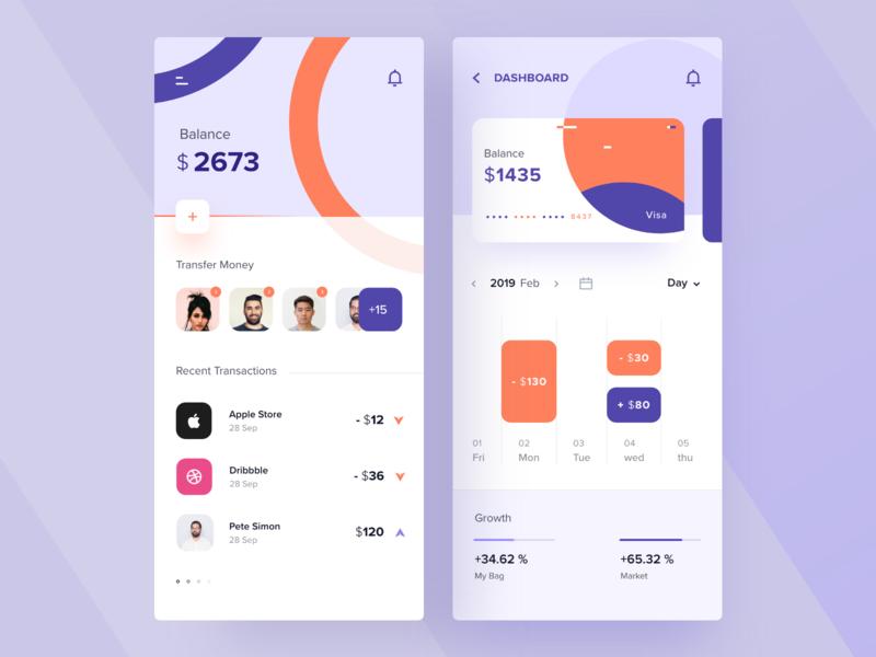 Money Management App transfer colorfull minimal modern calendar managment money graph dashboard purple blue orange colorful typography concept product design mobile app ui app design ios