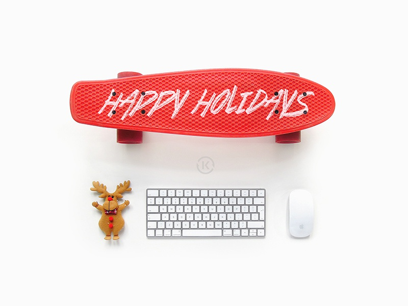 Happy Holidays board essentials kickflip holidays xmas