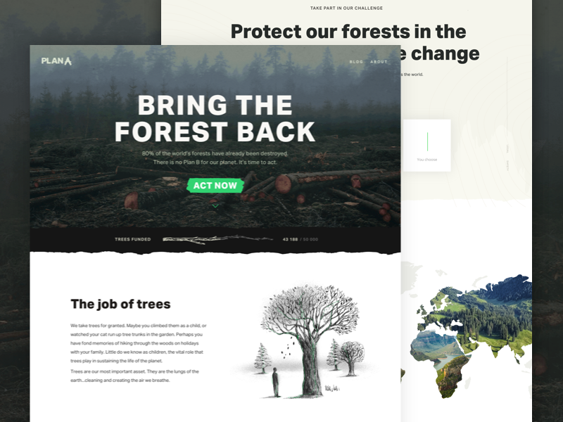 Plana A - Landing Page deforestation campaign ecological illustration sketch interface environmental tree landing page