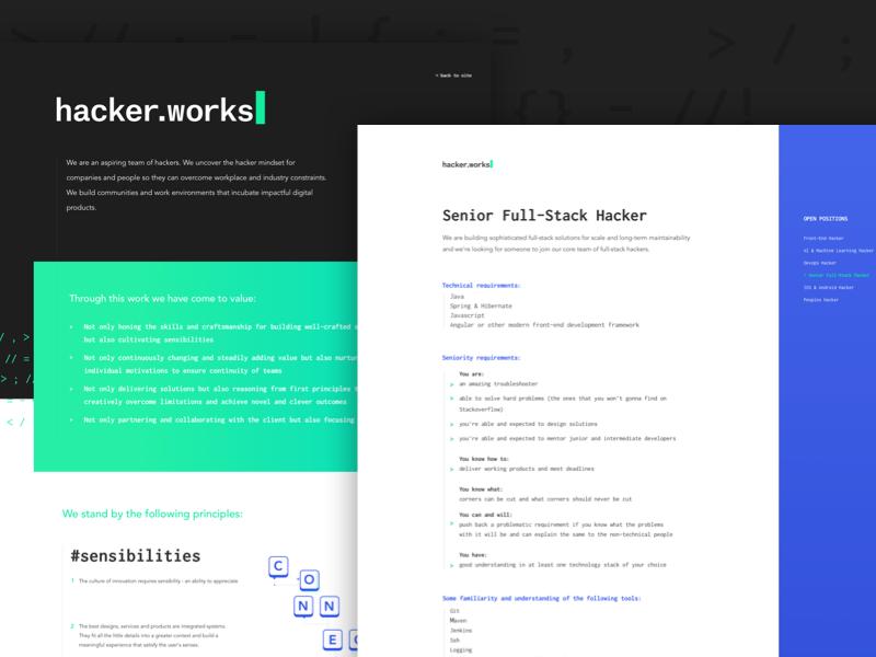 Careers pages hackers developer dev manifesto careers