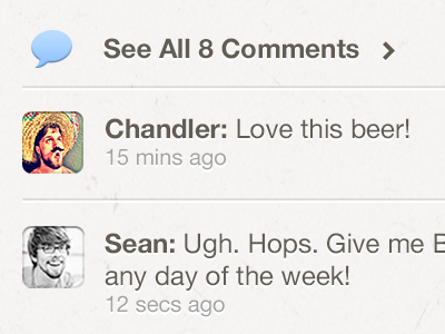 Activity v2 beer iphone retina social comments