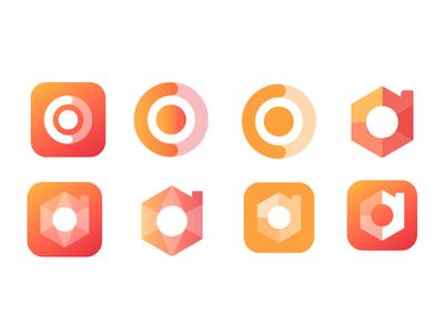 Mark concept designs orange yellow rounded corners autumnal flat design gradient mark design