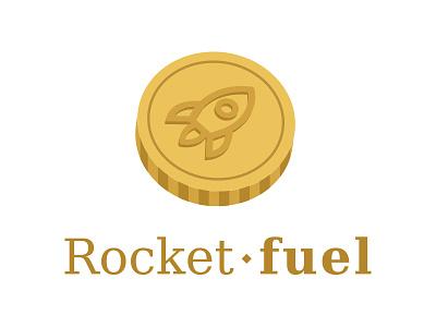 3D Rocket-fuel logo rocket serif coin 3d logo. gold 3d design logo design