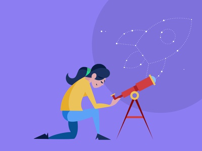 'The Vision' illustration telescope purple female character asset design vector design character illustration flat illustration flat design
