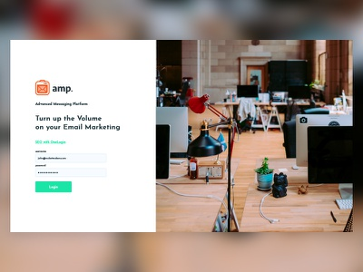 Amp Login Screen rebrand tech product design ui design flat illustration web design