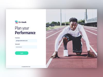 On Track Login minimal design mvp goal app. logo design login screen