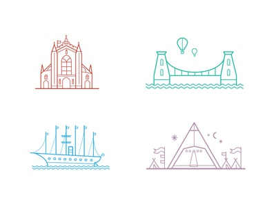 South West Landmarks icon set map bridge festival bristol buildings flat icons line icons