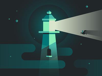 Lighthouse Challenge stars flat clouds bird light design color illustration lighthouse