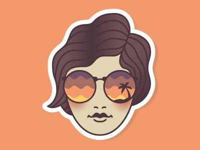 Chill Vibes design illustration lady glasses sunset summer beach vibes