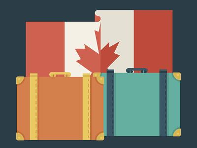 Travel Plans design illustration luggage canada moving clinton trump vote election