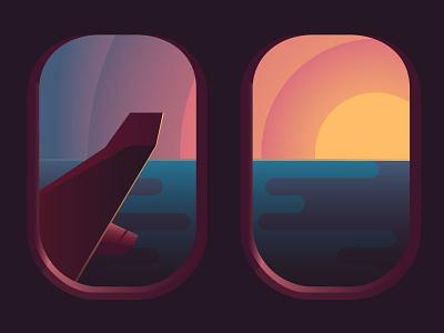 Come Sail Away monday reflection illustration flat gradient ocean plane window
