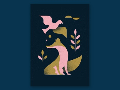 The Fox and the Crow design texture fables crow fox illustration aesop