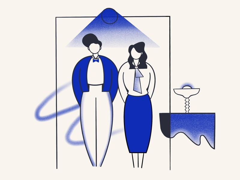 Hotel Check-in color blue reception concierge frot hotel vector procreate ipadpro illustration flat design