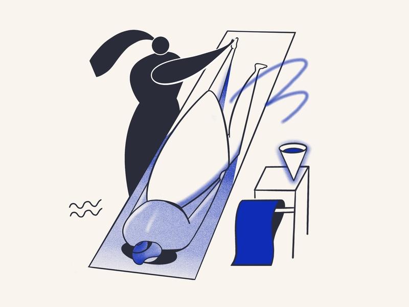 Spa day massage service aromatherapy warm spa blue color hotel vector procreate ipadpro illustration flat design