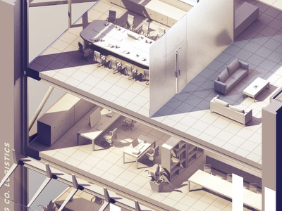 Real Life Learning: In detail photoshop rendering building isometric 3d