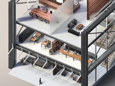 Detailed Render – Building 3d office building isometric rendering