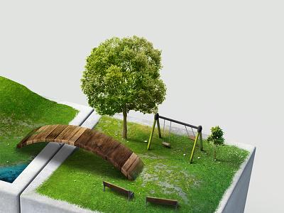 Landscape Rendering photoshop nature 3d trees rendering landscape