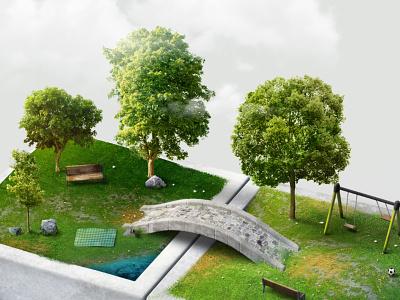 Landscape WIP: Update garden landscape photoshop rendering 3d