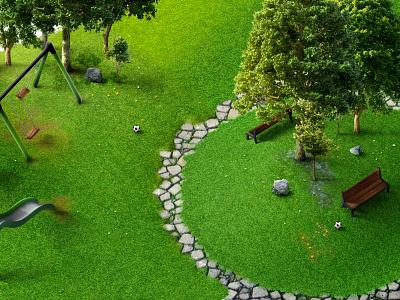 Manicured Garden trees garden photoshop rendering 3d