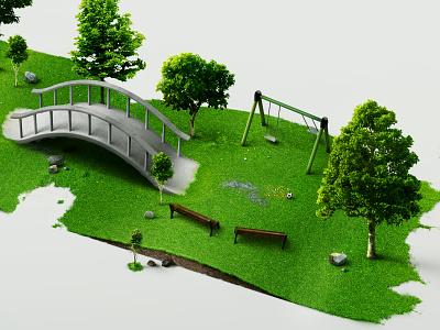 Garden in Full View isometric photoshop rendering 3d