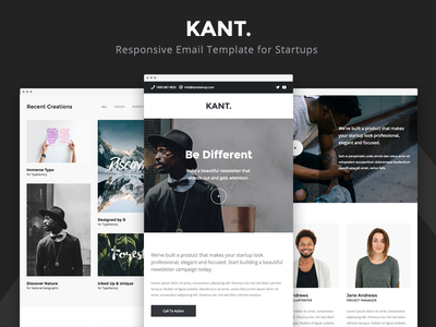 Kant - Responsive Email for Startups startup stampready portfolio pine mailster mailchimp campaign monitor email-marketing email-boilerplate email-template responsive-email email framework