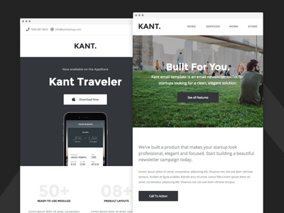 Kant - Responsive Email for Startups - App & Agency Version email framework responsive-email email-template email-boilerplate email-marketing campaign monitor mailchimp mailster pine portfolio stampready startup