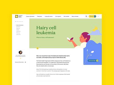 Canadian Cancer Society - Website hospital website app serif yellow illustration human medical desease cancer
