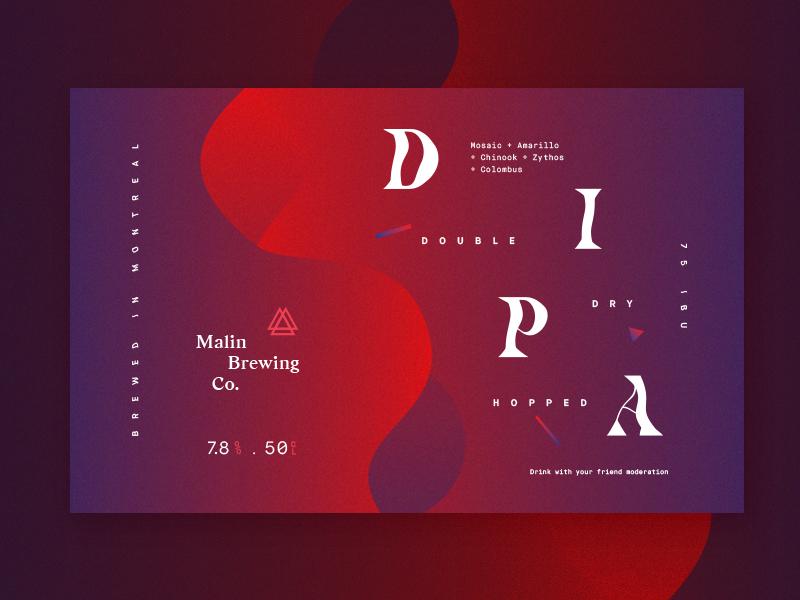 Malin Brewing Co. - DIPA print serif purple red gradient brewing bottle ipa label beer craft beer