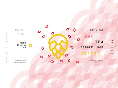 Rye Ipa Single Hop Azacca triangle ipa brewing malin malt hop brewery label beer craft
