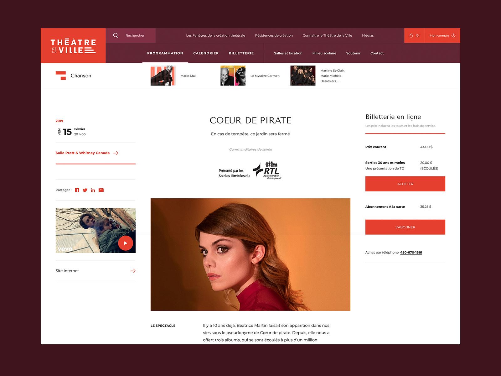 Théâtre de la Ville - Artist Page