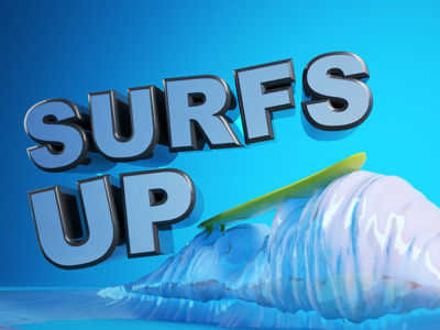 Type Tues - Surfs Up! typography type tuesday isometric cr6 cinema4d blocks 3d