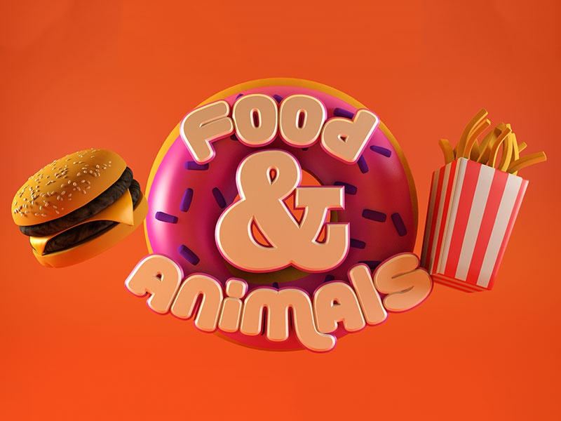 Animals & Food - A 3D Design Project typography isometric cr6 type cinema4d blocks 3d type